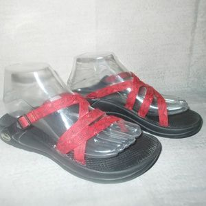 Chaco Red Strappy Slide On Open Back Women's Sz 7
